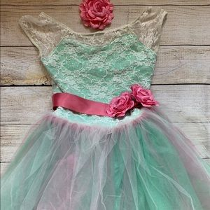 Weissman Pink and Green Ballet Costume Child Large